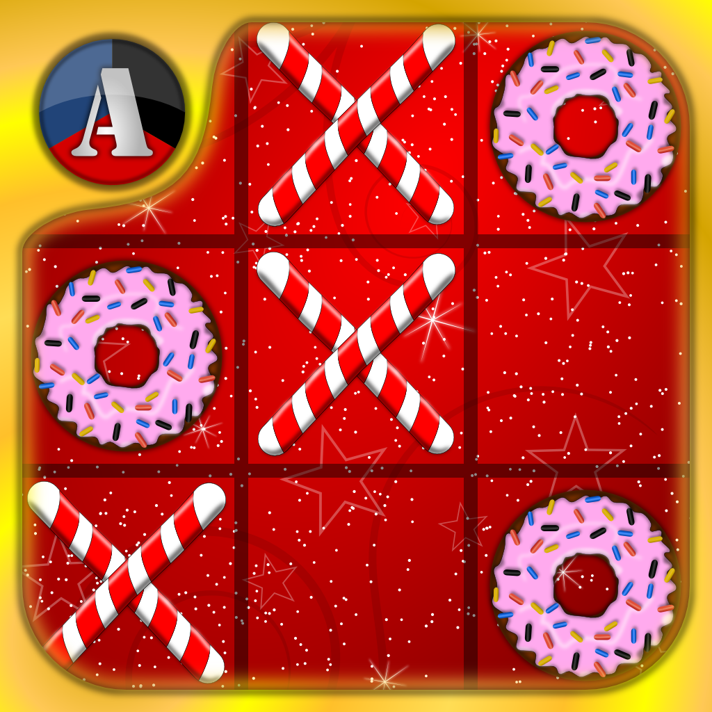 Christmas XO - Classic Tic Tac Toe Game, Candy Canes vs Sweet Donuts
